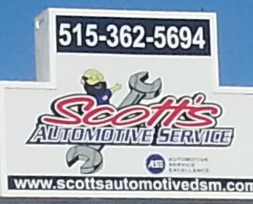 Sign outside of Scott's Automotive Service
